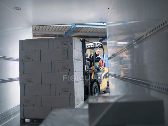 Працівник навантаження рибу у вантажівка — стокове фото