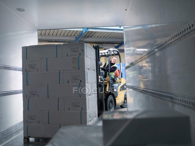 Worker Loading Fish Into Lorry — Stock Photo