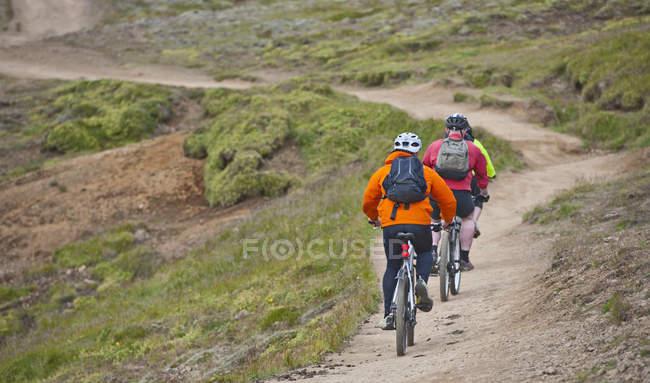 Задний вид трех горных байкеров на велосипеде через долину Рейкьядалур, юго-запад Исландии — стоковое фото