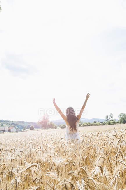 Заднього вигляду молода жінка з широким обіймами в пшеничному полі — стокове фото