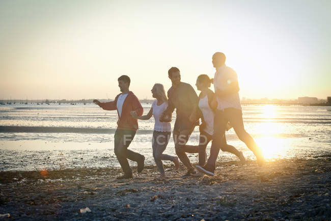 Group of friends having fun on sunny beach — Stock Photo