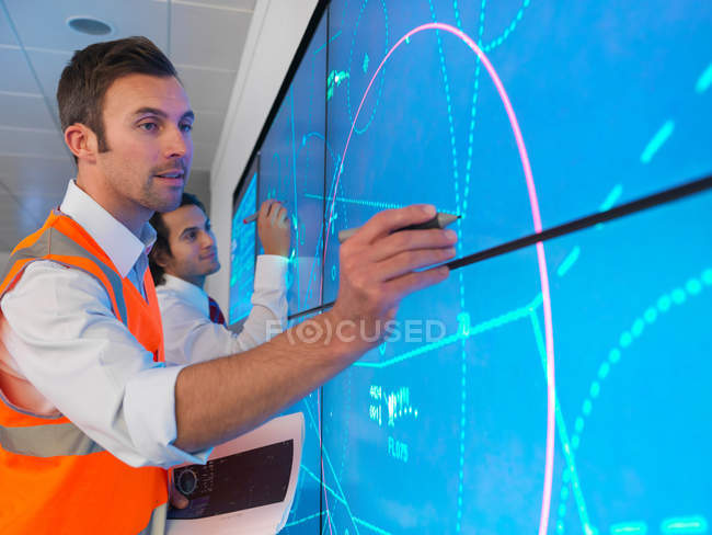 Air traffic controllers with simulation — Stock Photo
