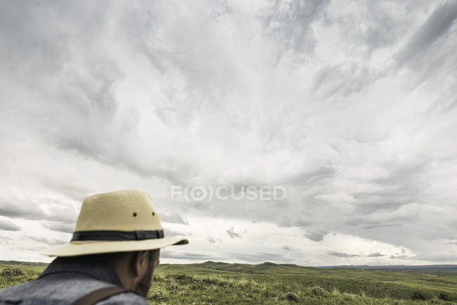 Head and shoulders of man wearing panama hat looking out to landscape, Cody, Wyoming, USA — Stock Photo