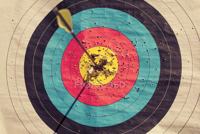 Archery target with arrow in the centre — Stock Photo