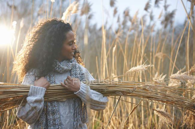 Frau trägt Bündel Weizen — Stockfoto