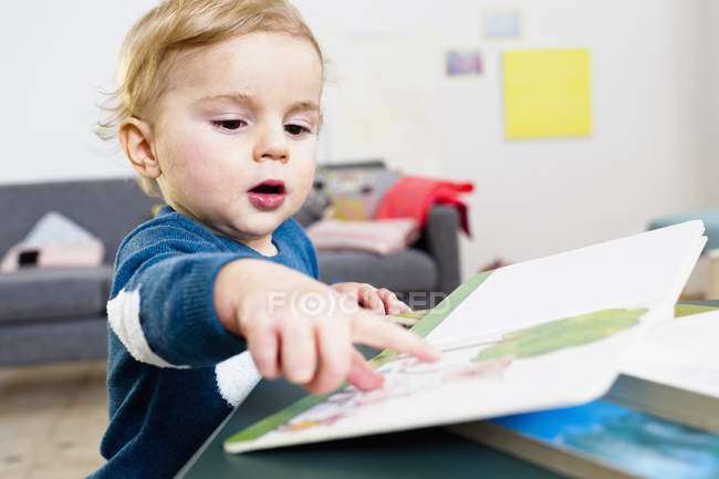Boy pointing at book — Stock Photo