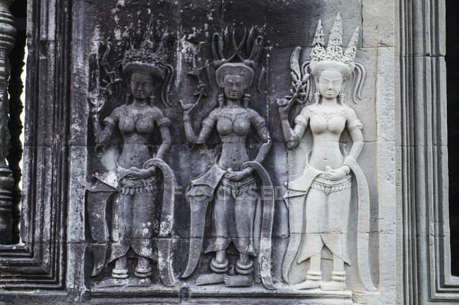 Gravures du temple d'Angkor Wat — Photo de stock