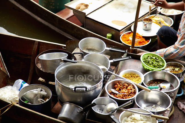 Fresh food in cafe market stall, Rachaburi, Thailand — Stock Photo