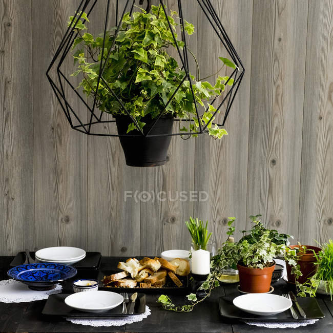 Set kitchen table with bread slices, fresh herbs and spring onions — Stock Photo