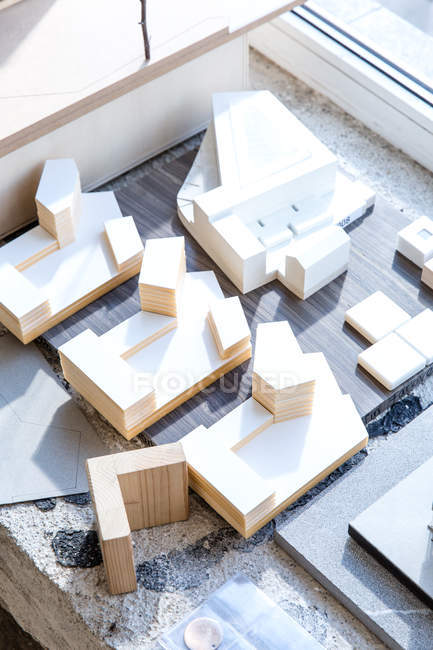 Top view of wooden architectural model in bright sunlight — Stock Photo