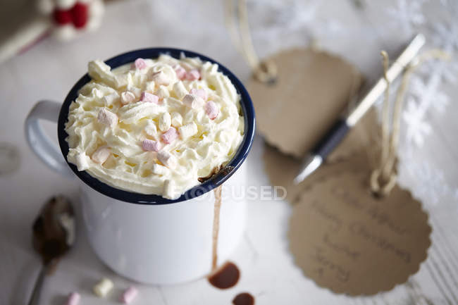 High angle view of cup of hot chocolate with marshmallow — Stock Photo