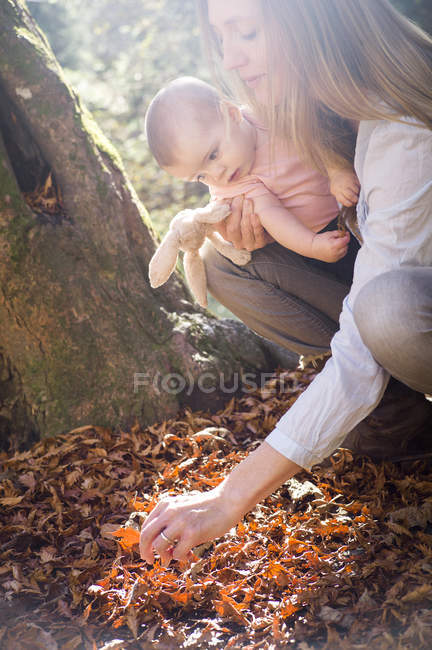 Mother and daughter crouching investigating leaves on forest floor — Stock Photo