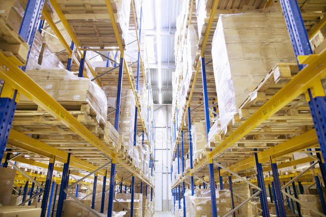 Étagères empilées avec boîtes dans l'entrepôt de distribution — Photo de stock