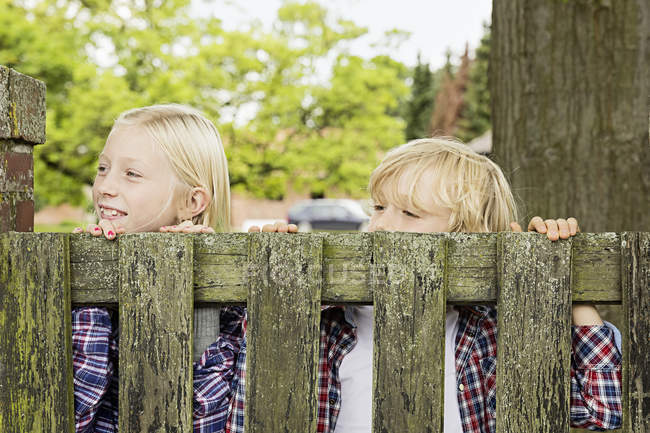 Brother and sister peering over wooden gate — Stock Photo