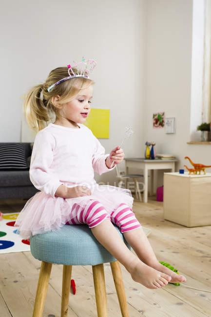 Girl playing fairy princess — Stock Photo