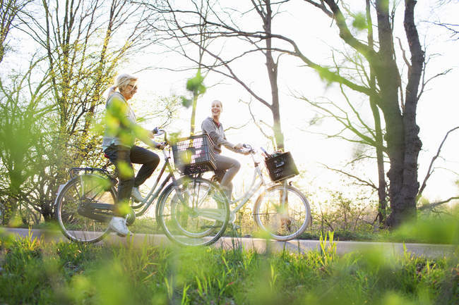 Side view of women cycling on bicycles — Stock Photo