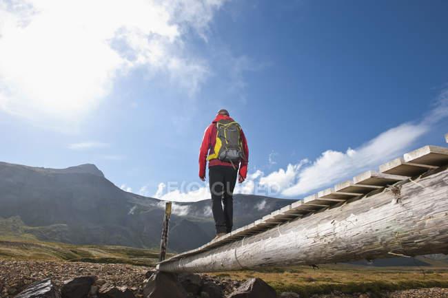 Vue d'angle bas de la passerelle en bois de croisement mâle randonneur, Breidvik, Borgafjordur East, l'Islande est — Photo de stock