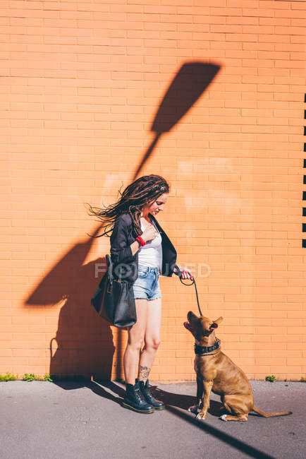 Jeune femme avec des dreadlocks en regardant pit bull terrier devant mur orange — Photo de stock