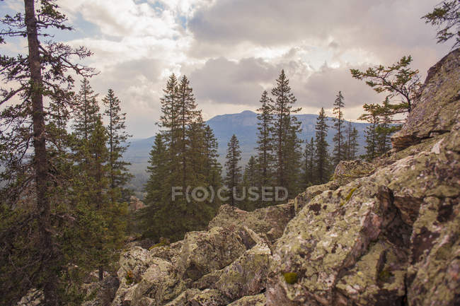 Rocks, forest and distant mountains under cloudy sky — Stock Photo