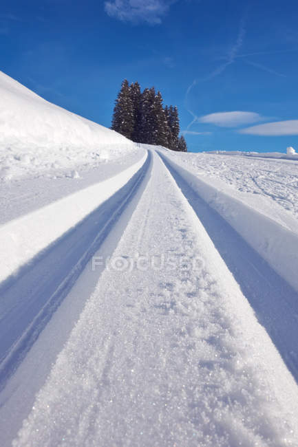 Tracks in deep snow under vivid blue sky — Stock Photo