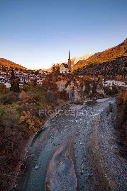 Scenic view of Scuol, Engadin, Switzerland — Stock Photo
