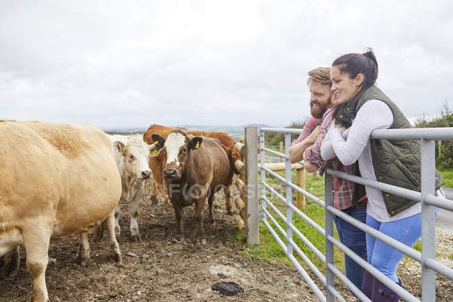 Couple accoudé contre porte loin la recherche de la ferme vache — Photo de stock