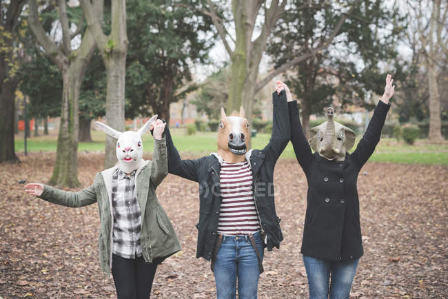 Three sisters wearing animal masks dancing in park — Stock Photo