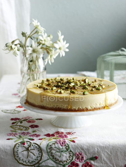Ricotta and honey cheesecake on cake stand — Stock Photo