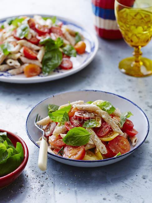Порції макарони з помідорами та базиліком листя на стіл — стокове фото