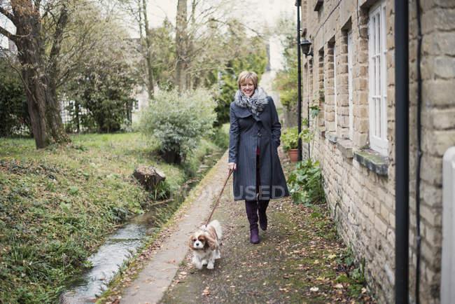 Femme mature chien de promenade à l'extérieur — Photo de stock