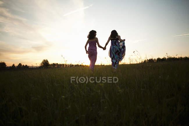 Девочки, играя на поле, село Sarsy, Свердловская область, Россия — стоковое фото