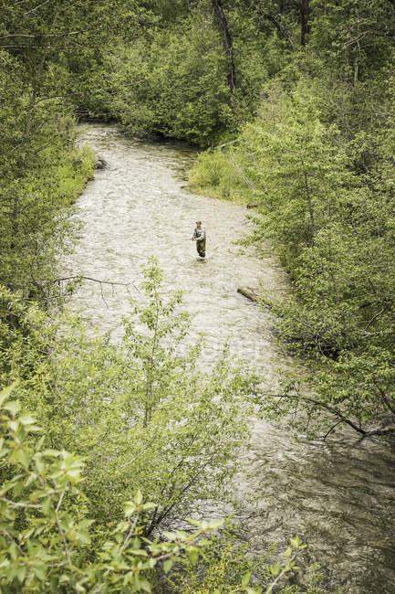 Высокий угол зрения человек летать рыбалка в реке — стоковое фото