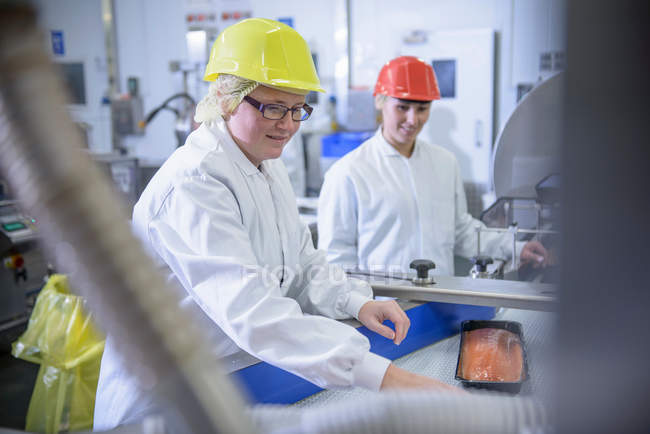 Workers packing salmon in food factory — Stock Photo