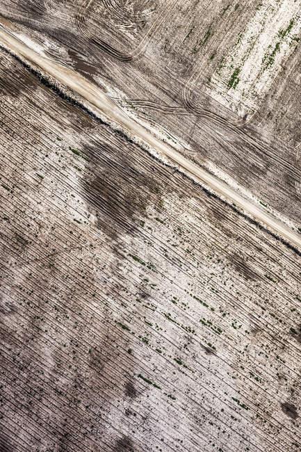 Vue aérienne du champ brun — Photo de stock