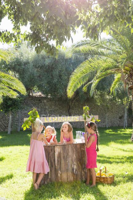 Quatro meninas conversando no quiosque de limonada no parque — Fotografia de Stock