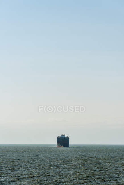 Container ship sailing north sea on route to Rotterdam harbour, Netherlands — Stock Photo