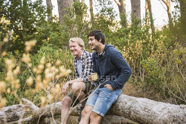 Два туриста прислонились к упавшему дереву в лесу, Дир Парк, Кейптаун, Южная Африка — стоковое фото