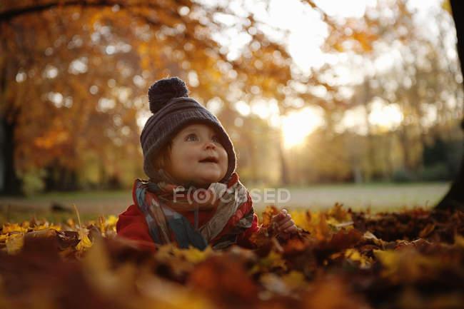 Niña con sombrero sentada en hojas de otoño - foto de stock