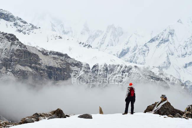 Vista posteriore della donna in piedi e guardando vista, Annapurna Base Camp trek, Nepal — Foto stock