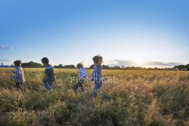Quatro crianças correndo no campo ao pôr do sol — Fotografia de Stock