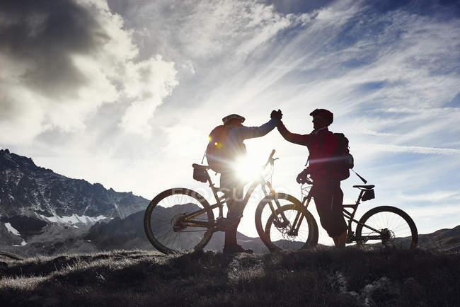 Mountain bike stringendo la mano, Vallese, Svizzera — Foto stock