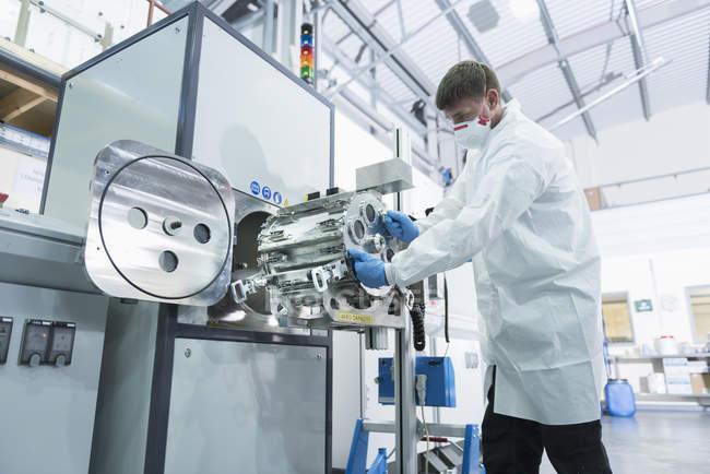 Graphene nano material processing in graphene processing factory — стокове фото
