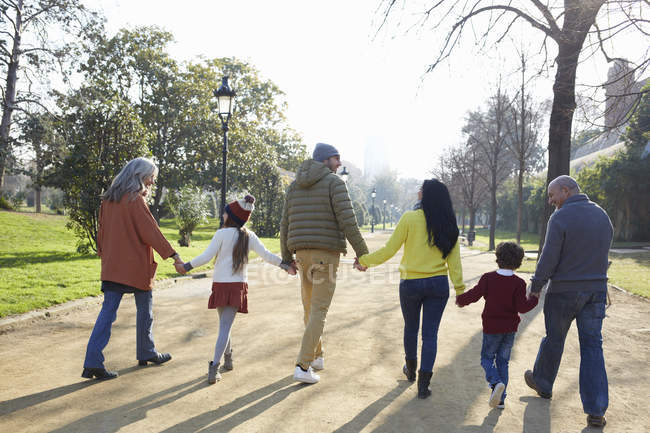 Rear view of multi generation family walking in park — Stock Photo