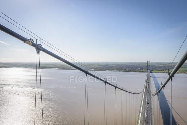 Vista do topo da ponte pênsil. A ponte Humber, Reino Unido — Fotografia de Stock