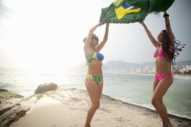 Duas jovens dançando enquanto seguram a bandeira brasileira, praia de Ipanema, Rio de Janeiro, Brasil — Fotografia de Stock