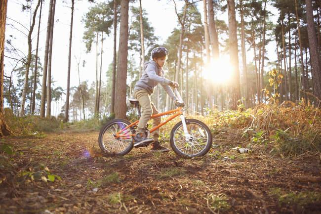 Junge fährt mit BMX-Rad durch Wald — Stockfoto