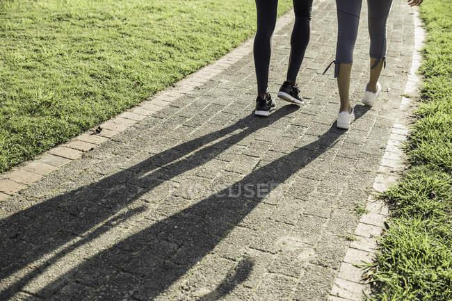 Jambes et ombre du couple sur le chemin — Photo de stock