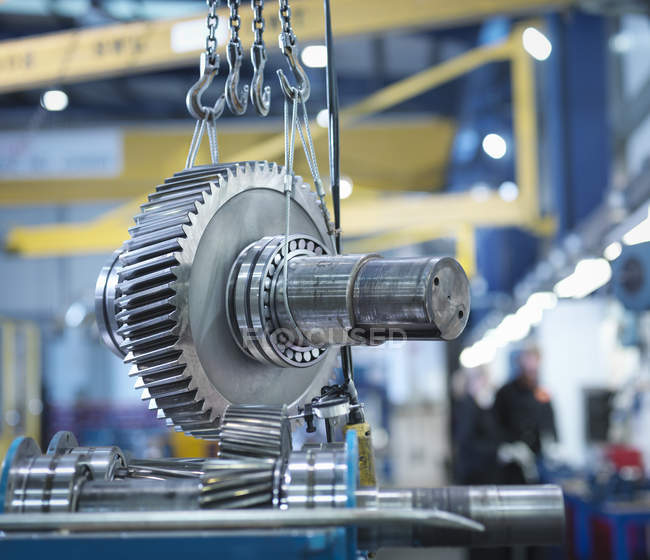 Gear for industrial gearbox in engineering factory — Stock Photo