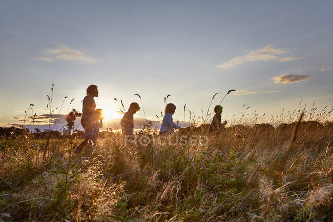 Family out walking in park field at sunset — Stock Photo