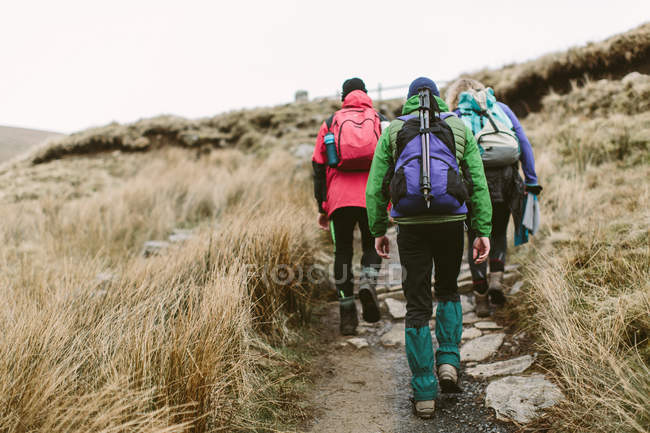 Hikers crossing moor, Yorkshire Dales National Park, England — Stock Photo